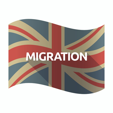 Illustration of a isolated long shadow United Kingdom flag with  the text MIGRATION