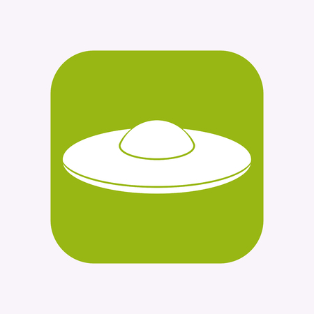 Illustration of a isolated square flat color button with  a flying saucer UFO