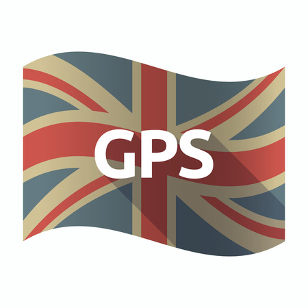 Illustration of a isolated long shadow United Kingdom flag with  the Global Positioning System acronym GPS