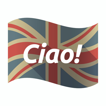 Illustration of a isolated long shadow United Kingdom flag with  the text Hello! in the Italian language