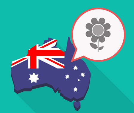 Illustration of a long shadow Australia map, its flag and a comic balloon with a flower