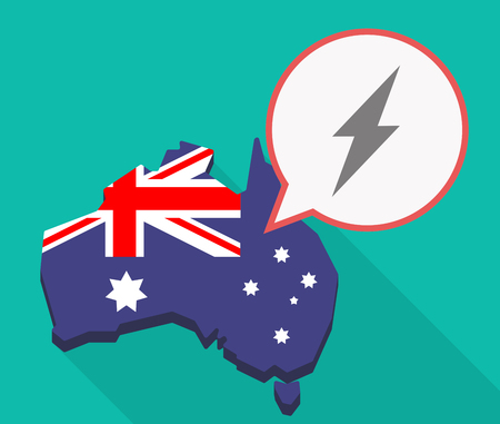 Illustration of a long shadow Australia map, its flag and a comic balloon with a lightning