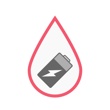lithium: Illustration of an isolated line art blood drop with a battery Illustration