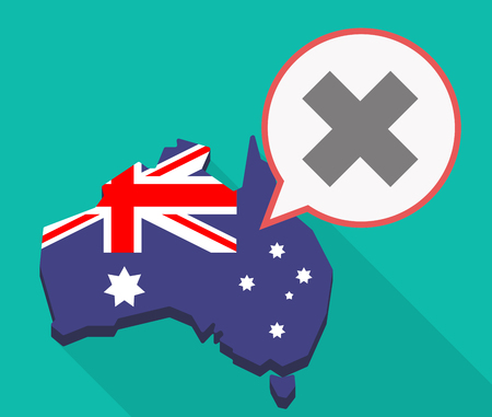 Illustration of a long shadow Australia map, its flag and a comic balloon with an x sign Illustration