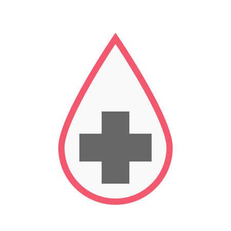 transfusion: Illustration of an isolated line art blood drop with a pharmacy sign