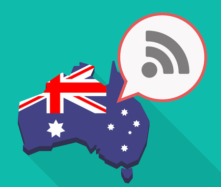 Illustration of a long shadow Australia map, its flag and a comic balloon with an RSS sign
