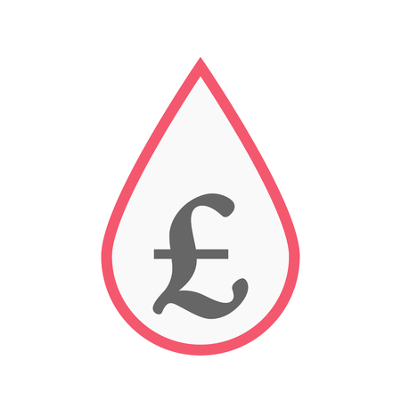 Illustration of an isolated line art blood drop with a pound sign Illustration