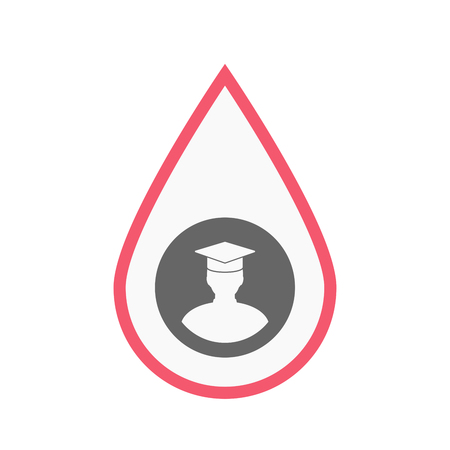 Illustration of an isolated line art blood drop with a student Illustration