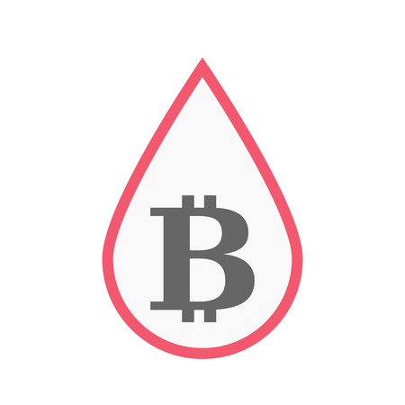 transfusion: Illustration of an isolated line art blood drop with a bit coin sign