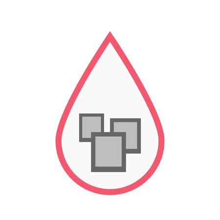 Illustration of an isolated line art blood drop with a few photos