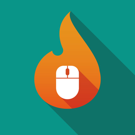 Illustration of a long shadow flame with a wireless mouse