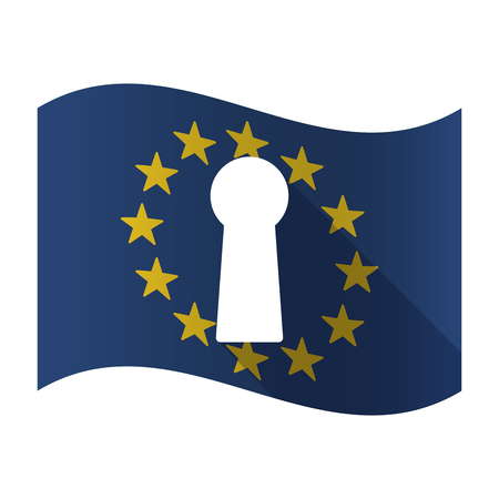 Illustration of an isolated waving EU flag with a key hole