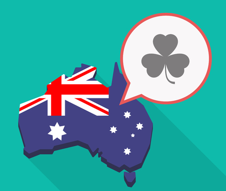 Illustration of a long shadow Australia map, its flag and a comic balloon with a clover