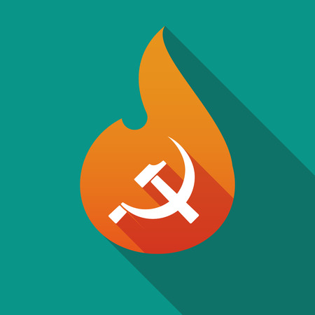 Illustration of a long shadow flame with  the communist symbol