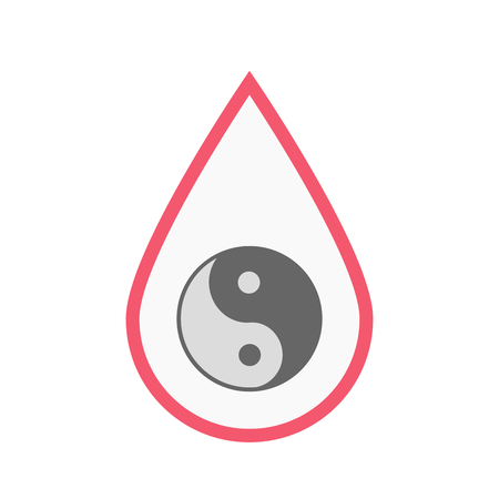 Illustration of an isolated line art blood drop with a ying yang Illustration