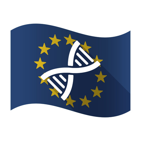 Illustration of an isolated waving EU flaw with a DNA sign
