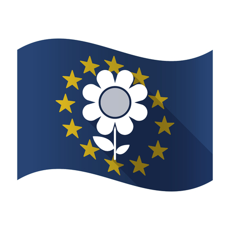 Illustration of an isolated waving EU flaw with a flower