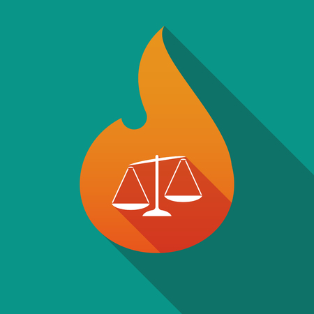 Illustration of a long shadow flame with  an unbalanced weight scale