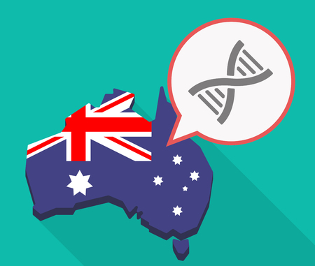 Illustration of a long shadow Australia map, its flag and a comic balloon with a DNA sign