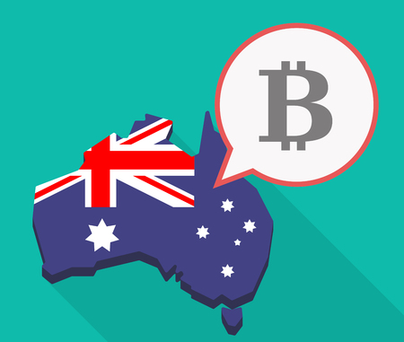 Illustration of a long shadow Australia map, its flag and a comic balloon with a bit coin sign Illustration