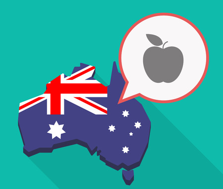 oceania: Illustration of a long shadow Australia map, its flag and a comic balloon with an apple