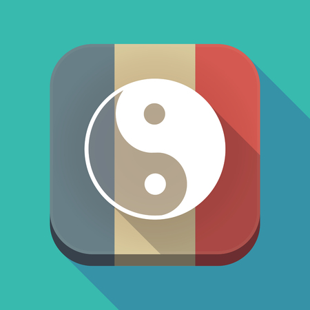 tao: Illustration of a long shadow France flag square button with a ying yang