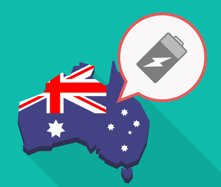 lithium: Illustration of a long shadow Australia map, its flag and a comic balloon with a battery Illustration