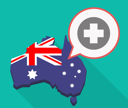 Illustration of a long shadow Australia map, its flag and a comic balloon with a round pharmacy sign Illustration
