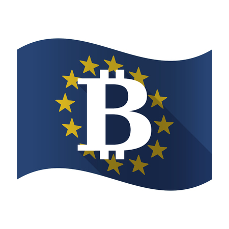 Illustration of an isolated waving EU flaw with a bit coin sign.