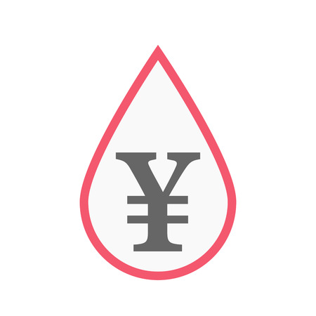 Illustration of an isolated line art blood drop with a yen sign Illustration
