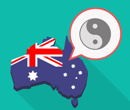 Illustration of a long shadow Australia map, its flag and a comic balloon with a ying yang