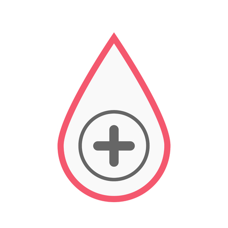 Illustration of an isolated line art blood drop with a sum sign