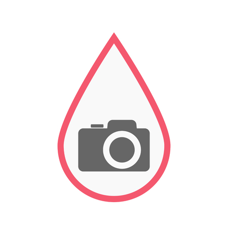 photography equipment: Illustration of an isolated line art blood drop with a photo camera