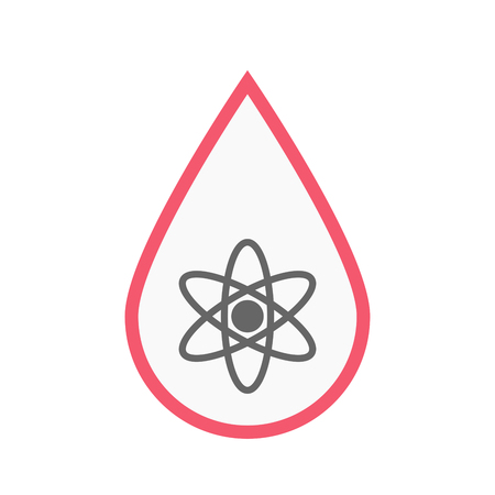 Illustration of an isolated line art blood drop with an atom Illustration