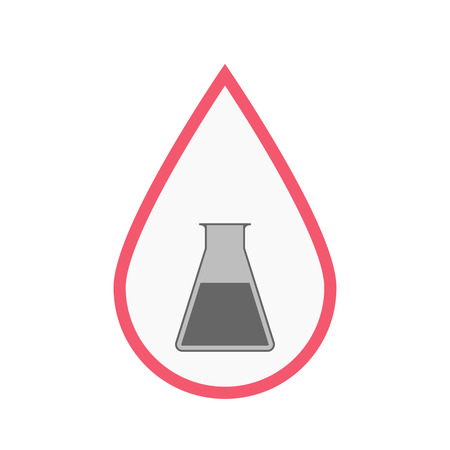 Illustration of an isolated line art blood drop with a flask
