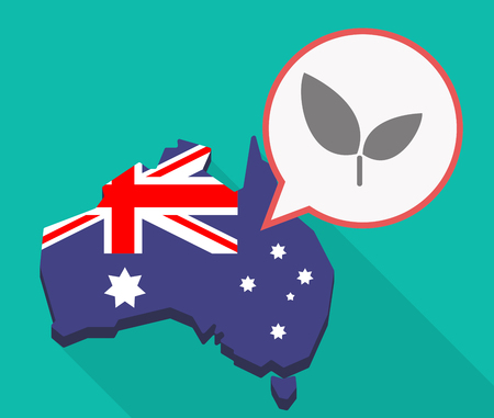 Illustration of a long shadow Australia map, its flag and a comic balloon with a plant Çizim