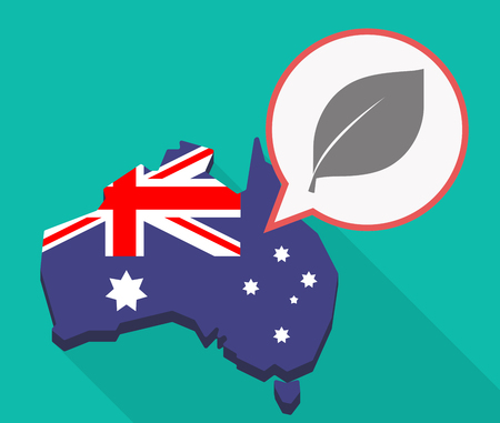 Illustration of a long shadow Australia map, its flag and a comic balloon with a leaf Çizim