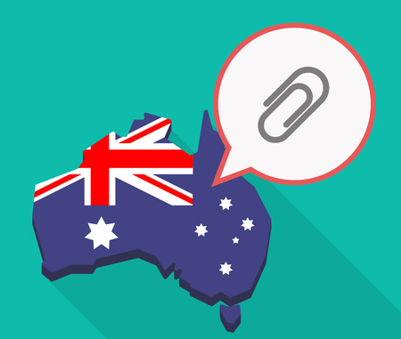 Illustration of a long shadow Australia map, its flag and a comic balloon with a clip