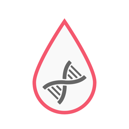 Illustration of an isolated line art blood drop with a DNA sign