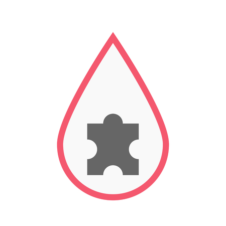 Illustration of an isolated line art blood drop with a puzzle piece