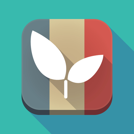 Illustration of a long shadow France flag square button with a plant