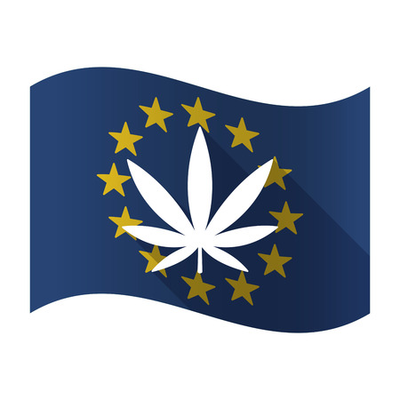 Illustration of an isolated waving EU flaw with a marijuana leaf