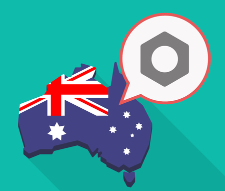 rivets: Illustration of a long shadow Australia map, its flag and a comic balloon with a nut