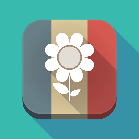 Illustration of a long shadow France flag square button with a flower