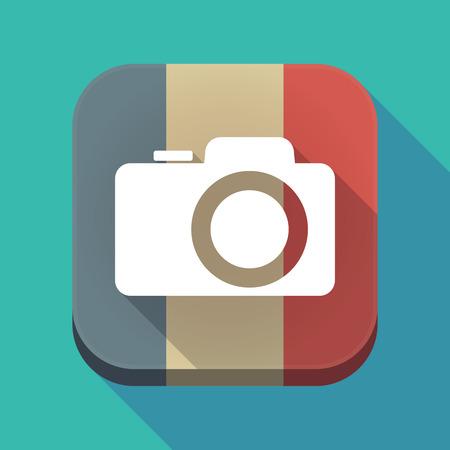 長い影のフランスの国旗のイラストは、写真カメラでボタンを正方形します。