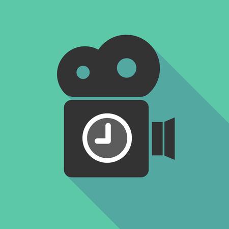 Ilustración de una cámara de cine de larga sombra con un reloj Foto de archivo - 84375152