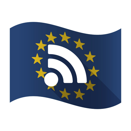 really simple syndication: Illustration of an isolated waving EU flaw with an RSS sign