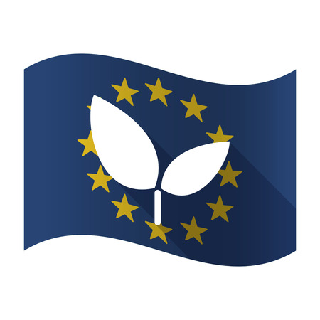Illustration of an isolated waving EU flag with a plant