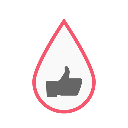 confirm: Illustration of an isolated line art blood drop with a thumb up hand