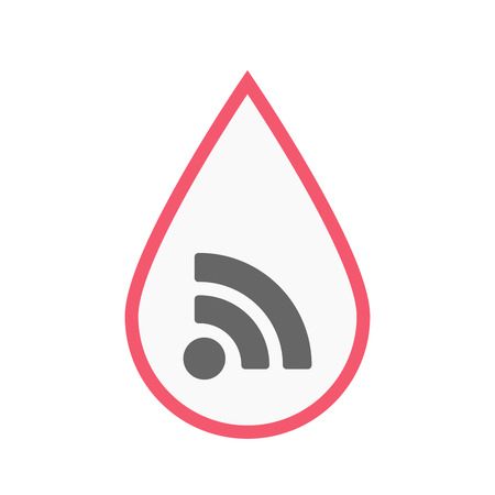 really simple syndication: Illustration of an isolated line art blood drop with an RSS sign Illustration